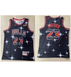 Bulls 23 Michael Jordan Black 1997 NBA Finals Patch Star Hardwood Classics Jersey