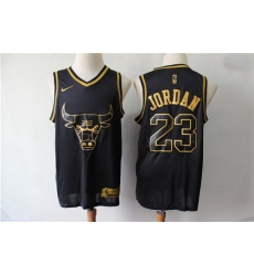 Bulls 23 Michael Jordan Black Gold Nike Swingman Jersey