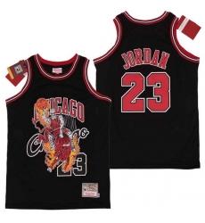 Bulls 23 Michael Jordan Black Hardwood Classics Skull Edition Jersey