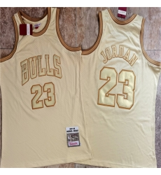 Bulls 23 Michael Jordan Cream 1997 98 Hardwood Classics Jersey