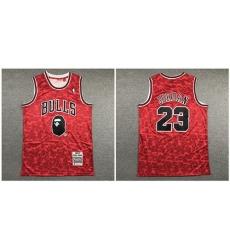 Bulls Bape 23 Michael Jordan Red 1996 97 Hardwood Classics Jersey