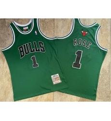 Men Chicago Bulls 1 Derrick Rose Green 2008 09 Hardwood Classics Jersey