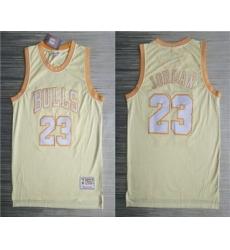 Men Chicago Bulls 23 Michael Jordan Gold Hardwood Classics Soul Throwback Limited Jersey