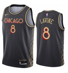 Men Chicago Bulls 8 Zach Lavine Black 2020 21 City Edition Nike Swingman Jersey