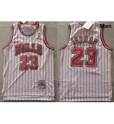 Men Chicago Bulls Michael Jordan 23 White Red Strips NBA Jersey