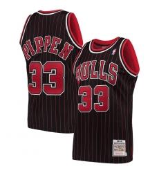 Men Mitchell & Ness Scottie Pippen Black Chicago Bulls Strips Jersey