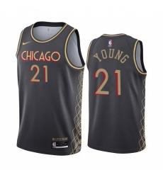 Men Nike Chicago Bulls 21 Thaddeus Young Black NBA Swingman 2020 21 City Edition Jersey