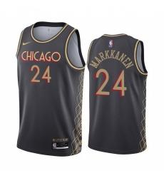Men Nike Chicago Bulls 24 Lauri Markkanen Black NBA Swingman 2020 21 City Edition Jersey