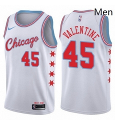 Mens Nike Chicago Bulls 45 Denzel Valentine Authentic White NBA Jersey City Edition