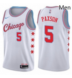 Mens Nike Chicago Bulls 5 John Paxson Swingman White NBA Jersey City Edition