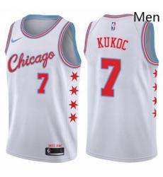 Mens Nike Chicago Bulls 7 Toni Kukoc Swingman White NBA Jersey City Edition