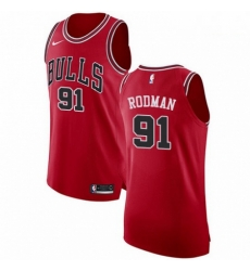 Mens Nike Chicago Bulls 91 Dennis Rodman Authentic Red Road NBA Jersey Icon Edition