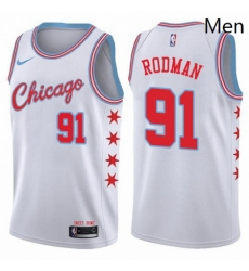 Mens Nike Chicago Bulls 91 Dennis Rodman Authentic White NBA Jersey City Edition