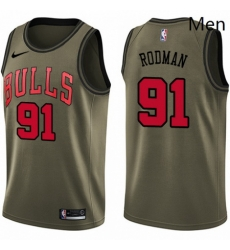 Mens Nike Chicago Bulls 91 Dennis Rodman Swingman Green Salute to Service NBA Jersey