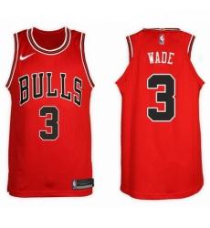 Nike NBA Chicago Bulls 3 Dwyane Wade Jersey 2017 18 New Season Red Jersey