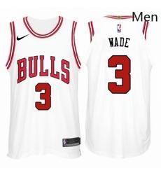 Nike NBA Chicago Bulls 3 Dwyane Wade Jersey 2017 18 New Season White Jersey