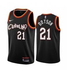 Men Nike Cleveland Cavaliers 21 Damyean Dotson Black NBA Swingman 2020 21 City Edition Jersey