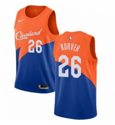 Mens Nike Cleveland Cavaliers 26 Kyle Korver Swingman Blue NBA Jersey City Edition