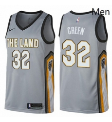 Mens Nike Cleveland Cavaliers 32 Jeff Green Swingman Gray NBA Jersey City Edition