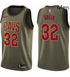 Mens Nike Cleveland Cavaliers 32 Jeff Green Swingman Green Salute to Service NBA Jersey
