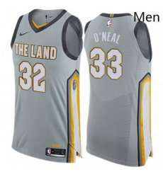 Mens Nike Cleveland Cavaliers 33 Shaquille ONeal Authentic Gray NBA Jersey City Edition