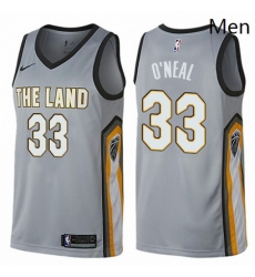 Mens Nike Cleveland Cavaliers 33 Shaquille ONeal Swingman Gray NBA Jersey City Edition