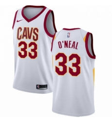 Mens Nike Cleveland Cavaliers 33 Shaquille ONeal Swingman White Home NBA Jersey Association Edition
