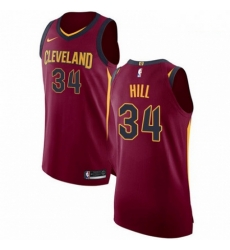 Mens Nike Cleveland Cavaliers 34 Tyrone Hill Authentic Maroon Road NBA Jersey Icon Edition