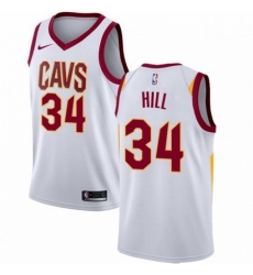 Mens Nike Cleveland Cavaliers 34 Tyrone Hill Authentic White Home NBA Jersey Association Edition