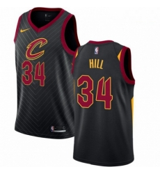 Mens Nike Cleveland Cavaliers 34 Tyrone Hill Swingman Black Alternate NBA Jersey Statement Edition