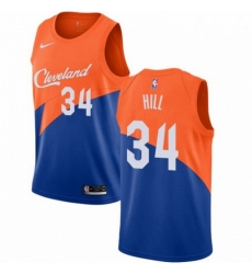 Mens Nike Cleveland Cavaliers 34 Tyrone Hill Swingman Blue NBA Jersey City Edition