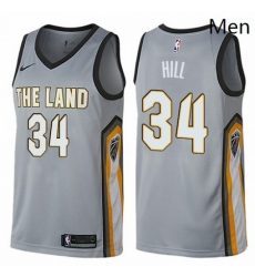 Mens Nike Cleveland Cavaliers 34 Tyrone Hill Swingman Gray NBA Jersey City Edition