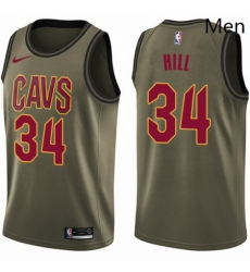 Mens Nike Cleveland Cavaliers 34 Tyrone Hill Swingman Green Salute to Service NBA Jersey