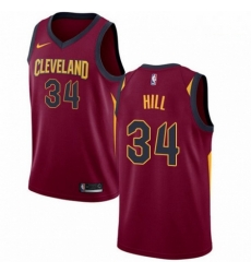Mens Nike Cleveland Cavaliers 34 Tyrone Hill Swingman Maroon Road NBA Jersey Icon Edition