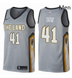 Mens Nike Cleveland Cavaliers 41 Ante Zizic Swingman Gray NBA Jersey City Edition