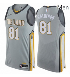 Mens Nike Cleveland Cavaliers 81 Jose Calderon Authentic Gray NBA Jersey City Edition