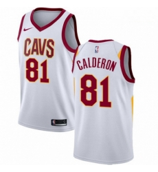 Mens Nike Cleveland Cavaliers 81 Jose Calderon Authentic White Home NBA Jersey Association Edition