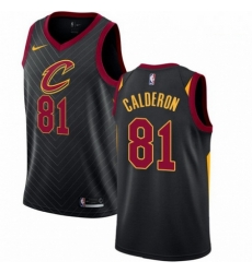 Mens Nike Cleveland Cavaliers 81 Jose Calderon Swingman Black Alternate NBA Jersey Statement Edition