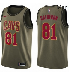 Mens Nike Cleveland Cavaliers 81 Jose Calderon Swingman Green Salute to Service NBA Jersey