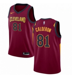 Mens Nike Cleveland Cavaliers 81 Jose Calderon Swingman Maroon Road NBA Jersey Icon Edition