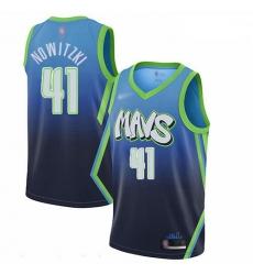 Mavericks 41 Dirk Nowitzki Blue Basketball Swingman City Edition 2019 20 Jersey