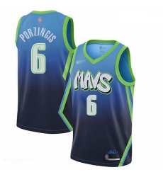 Mavericks 6 Kristaps Porzingis Blue Basketball Swingman City Edition 2019 20 Jersey
