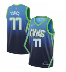 Mavericks 77 Luka Doncic Blue Basketball Swingman City Edition 2019 20 Jersey