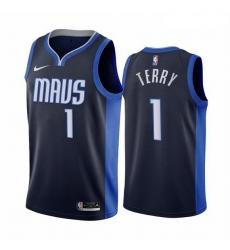 Men Dallas Mavericks 1 Tyrell Terry Navy NBA Swingman 2020 21 Earned Edition Jersey