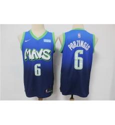 Men Dallas Mavericks 6 Kristaps Porzingis Blue 2020 City Edition Nike Swingman Jersey