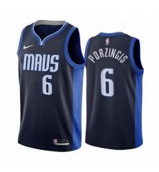 Men Dallas Mavericks 6 Kristaps Porzingis Navy NBA Swingman 2020 21 Earned Edition Jersey