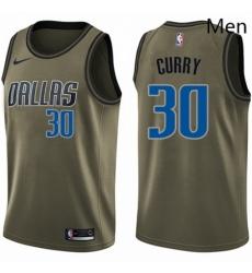 Mens Nike Dallas Mavericks 30 Seth Curry Swingman Green Salute to Service NBA Jersey
