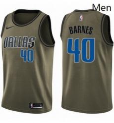Mens Nike Dallas Mavericks 40 Harrison Barnes Swingman Green Salute to Service NBA Jersey