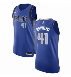 Mens Nike Dallas Mavericks 41 Dirk Nowitzki Authentic Royal Blue Road NBA Jersey Icon Edition