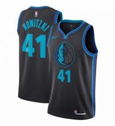 Mens Nike Dallas Mavericks 41 Dirk Nowitzki Swingman Charcoal NBA Jersey City Edition